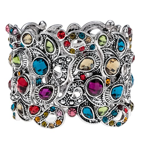 YACQ Angel Jewelry Women's Crystal Flower Stretch Cuff Bracelet Women's Halloween Costume Outfit -