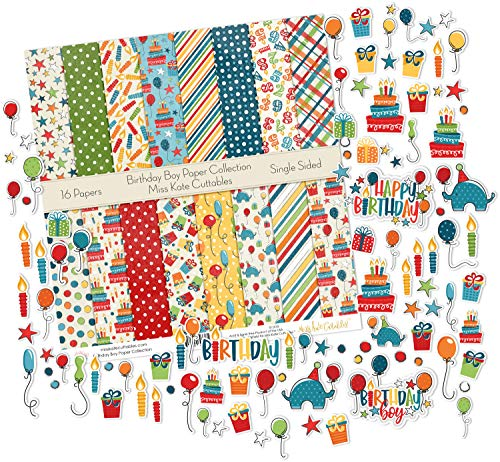 Birthday Boy - Die Cuts & Paper Set - by Miss Kate Cuttables - 16 Sheets of 12