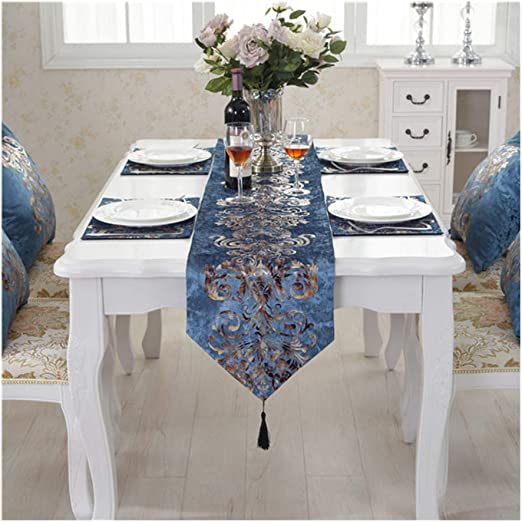 Amazon Com Dolinxh European Style Royal Blue Satin Table Runners For Wedding Decoration Home Dining Table Accessories Royal Blue 32x180cm Home Kitchen