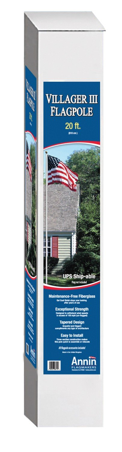 American Flag and Flagpole Set 20 Ft. White Fiberglass 3 Section Flagpole has Exceptional Strength, Includes a US Flag 4x6 ft. by Annin Flagmakers, Villager III Kit Model 3952 by Annin Flagmakers