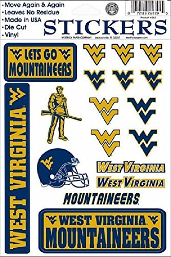 (West West Virginia Mountaineers Vinyl Cling Stickers 18 Removeable Decals NCAA Licensed)