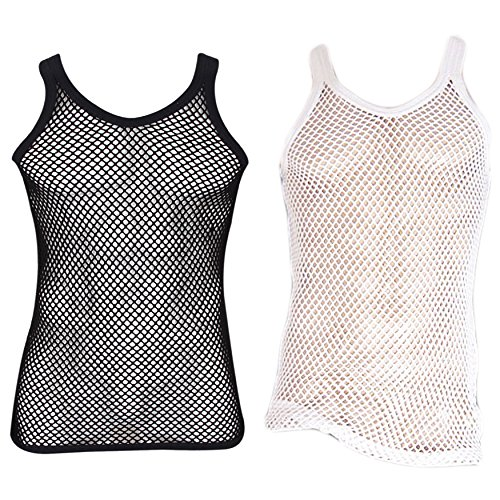 UD Accessories Mens 100% Cotton Fitted Muscle Fishnet String Vest Tank Top Mesh (2 Pack - 1 White, 1 Black) - S