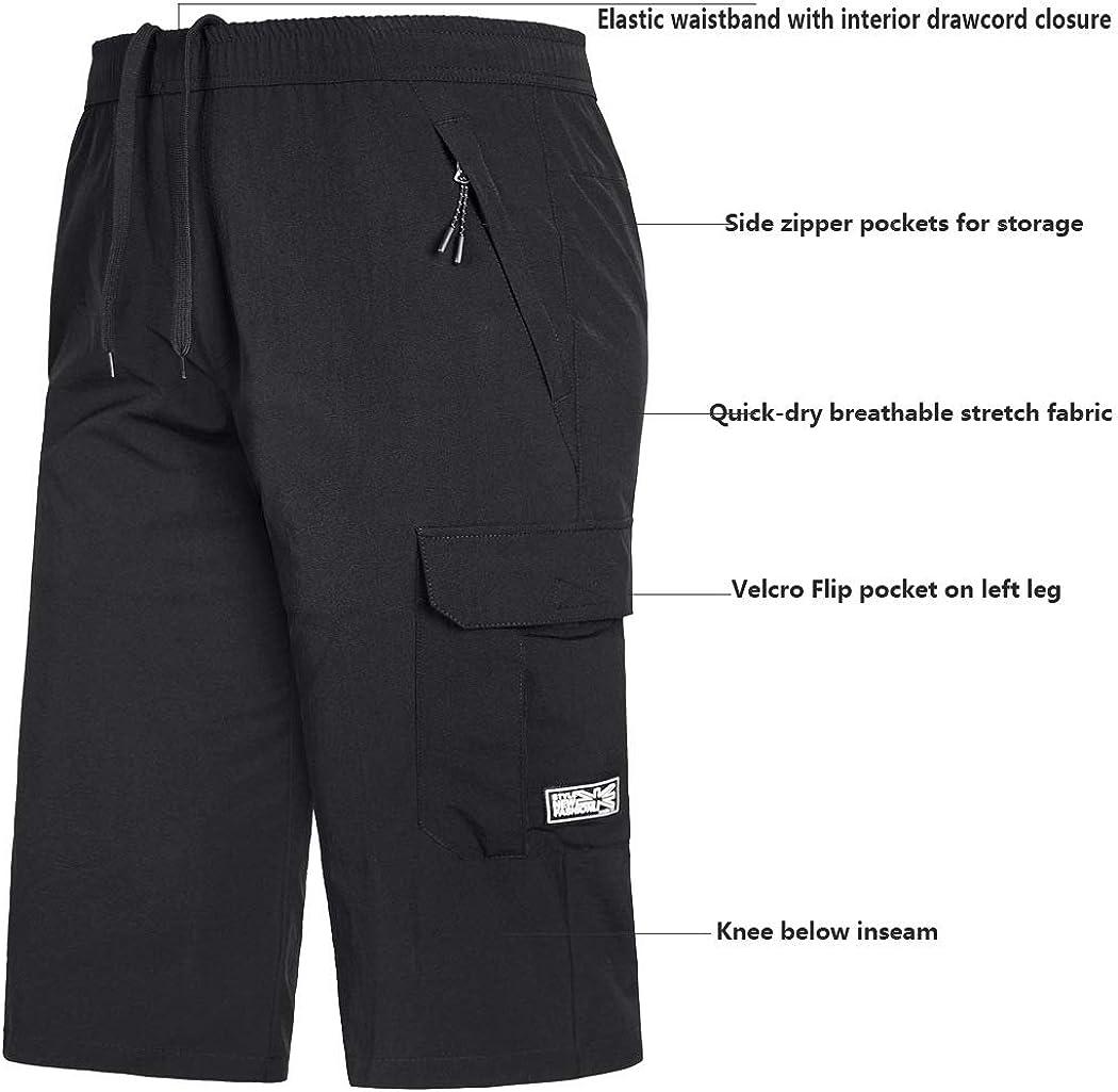 Mens Outdoor Hiking Shorts Quick Dry Stretchy 3//4 Capri Pants Cargo Shorts