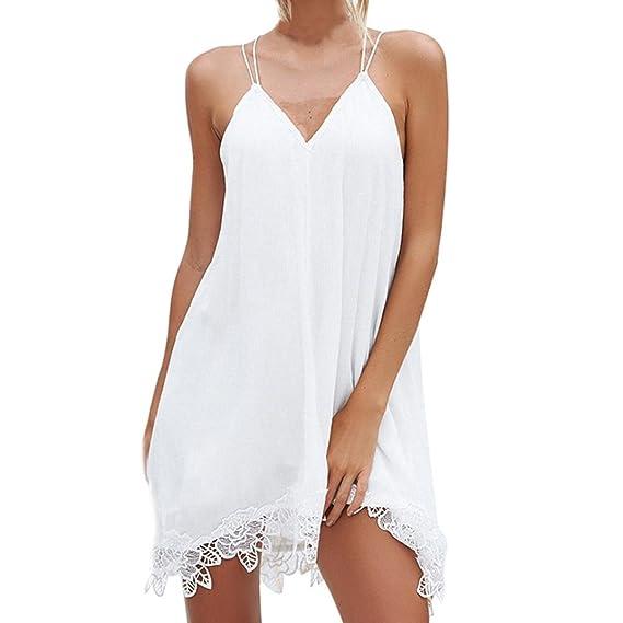 Vestido de Fiesta Mujer Sexy Sin Manga Verano Tirantes Cuello en V Encaje Bandage Sin Respaldo Blanco Vestido de Noche Casual Playa Falda ❤️LuckyGirls: ...