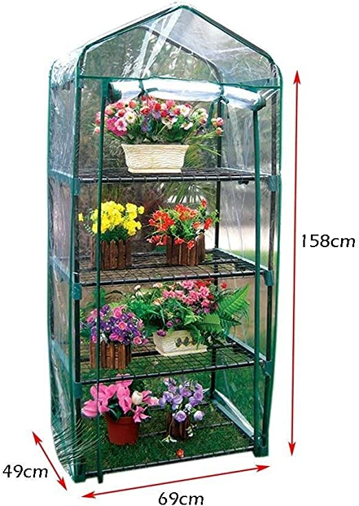 Invernadero de jardín Invernadero de jardín Invernadero - Mini Invernadero con vestidor 4 Niveles, pequeño Invernadero de jardín, casa de plástico, 69 × 49 × 158 cm: Amazon.es: Hogar