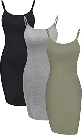 WILLBOND 3 Pieces Basic Cami Women Long Tanks Camisole Tank Top Dress Slip Dress with Spaghetti Strap, Solid Color