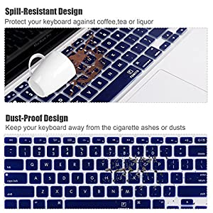 "Keyboard Cover for Macbook Pro 13"" 15"" (2012-2015 model) , Macbook Air 13, iMac Wireless Keyboard (Navy Blue)"