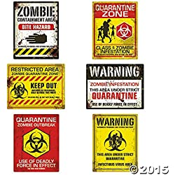 Fun Express Zombie Halloween Party Posters - Assorted Styles - 6 Pieces