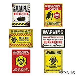 Fun Express Zombie Halloween Party Posters – Assorted Styles