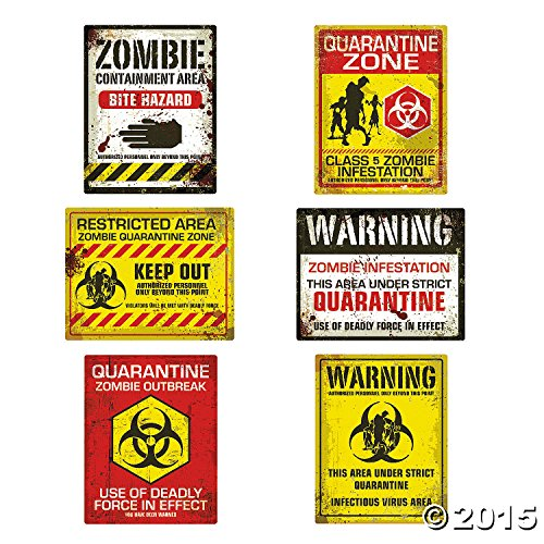 Fun Express Zombie Halloween Party Posters - Assorted Styles - 6 Pieces -