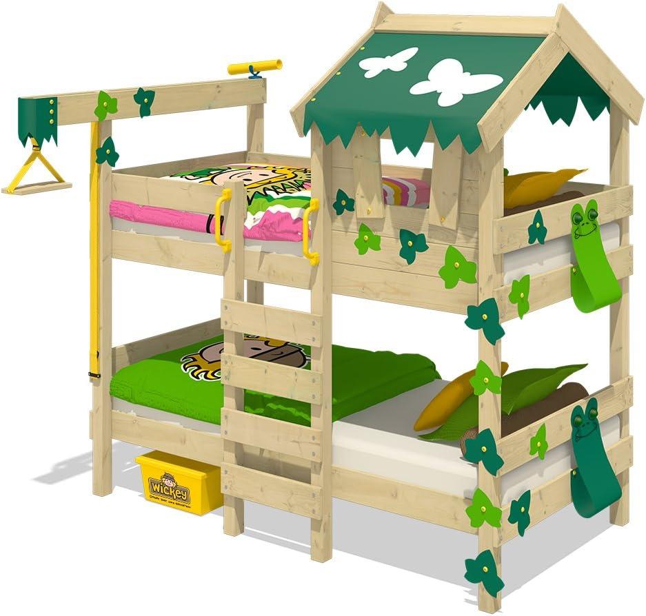 WICKEY Litera CrAzY Ivy Cama para jugar para 2 niños Cama alta con techo, escalara para trepar y somier de madera, verde-verde manzana