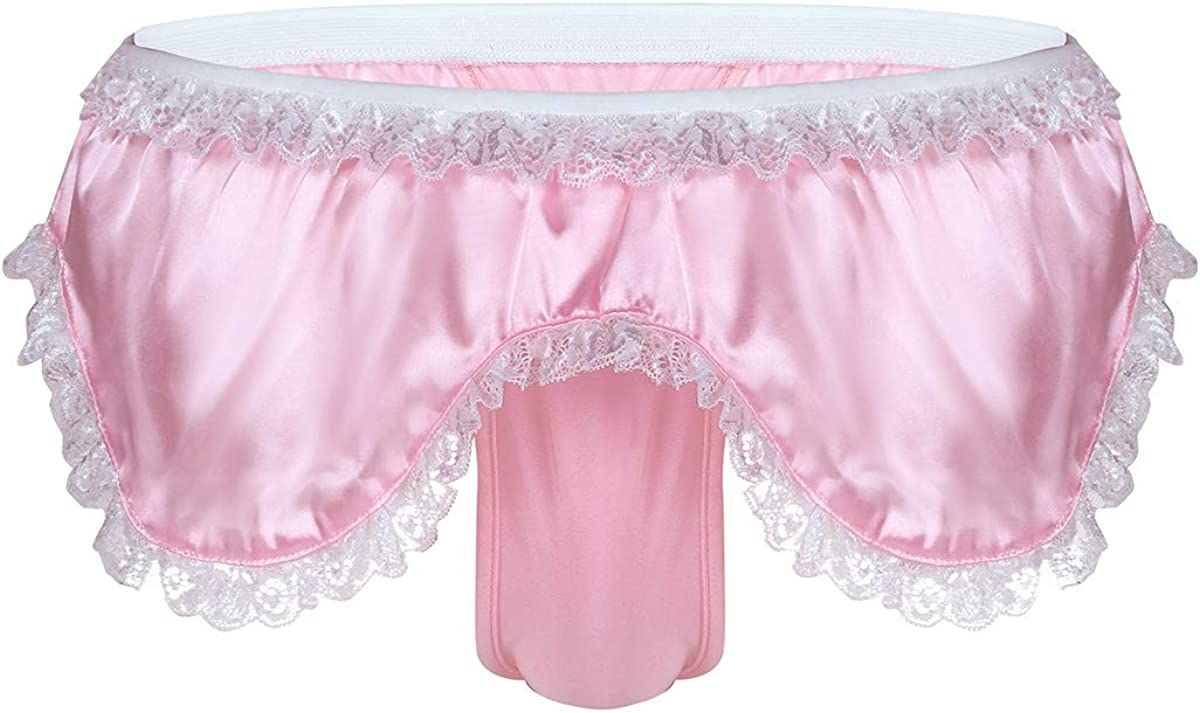 CHICTRY Mens Sissy Satin Ruffles Bikini Briefs Skirted Panties Underwear