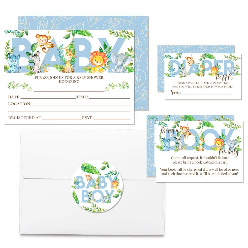 """Deluxe Watercolor Jungle Animals Baby Shower Party Bundle for Boys, Includes 20 each of 5''x7'' Fill In Invitations, Diaper Raffle Tickets, Bring a Book Cards & 2"""" Thank You Favor Stickers w/ Envelopes"""
