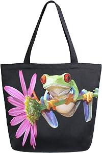 Naanle Floral Frog Canvas Tote Bag Large Women Casual Shoulder Bag Handbag, Floral Frog Reusable Multipurpose Heavy Duty Shopping Grocery Cotton Bag for Outdoors.