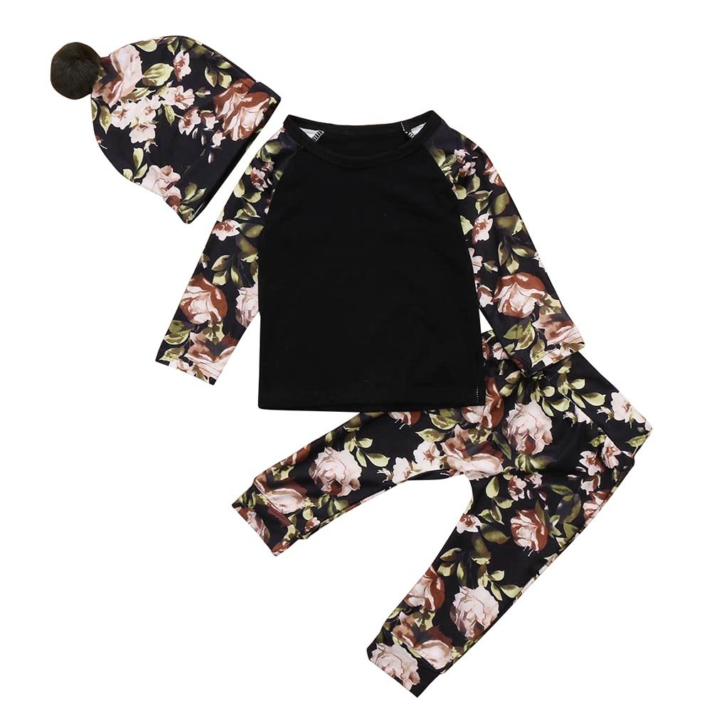 SCFEL Baby Jungen M/ädchen Schwarz Floral Tops Pelz Pom Pom Hut Kleidung Set Outfits Hosen
