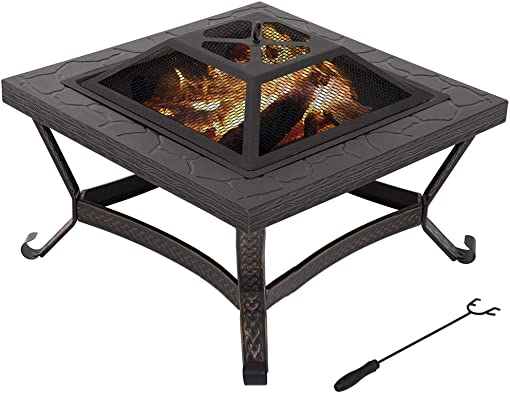 26″ Outdoor Fire Pit Square FirePit Metal Fire Bowl Fireplace Backyard Patio Garden Stove