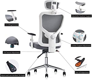 Cedric Office Chair,Breathable Mesh Computer Chair with Ergonomic Adjustable Lumbar Support, White Swivel Desk Chair with Adjustable Armrest and Headrest, Soft Cushion Seat