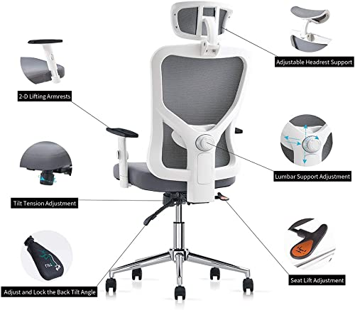 Cedric Office Chair,Breathable Mesh Computer Chair with Ergonomic Adjustable Lumbar Support, White Swivel Desk Chair with Adjustable Armrest and Headrest, Soft Cushion Seat, BIFMA-Certified