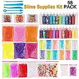 Candygirl Slime Supplies,Slime Kits,Slime Tools for Slime Making Art DIY Craft Include Fishbowl Beads,Foam Balls,Glitter Jars,Fruit Flower Animal Slices,Pearls Slime Decoration Kits (58PACK)