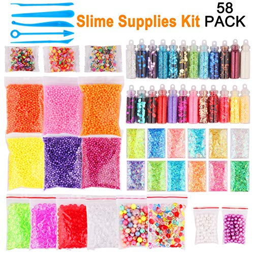 Candygirl Slime Supplies,Slime Kits,Slime Tools for Slime Making Art DIY Craft Include Fishbowl Beads,Foam Balls,Glitter Jars,Fruit Flower Animal Slices,Pearls Slime Decoration Kits (58PACK) by  Candygirl