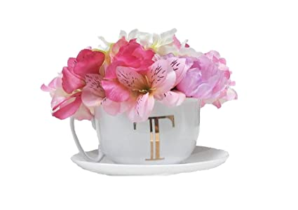 Amazon graces teaware lovely white gold tea cup with flowers graces teaware lovely white gold tea cup with flowers arrangement centerpiece mightylinksfo