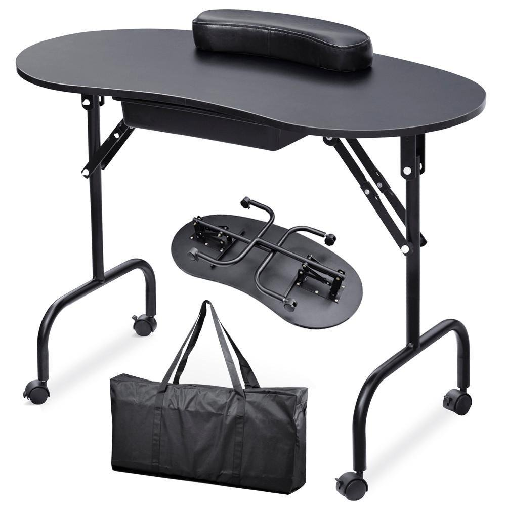 Yaheetech 37-inch Portable & Foldable 1-Drawer Manicure Table Nail Technician Desk Workstation Manicure Table with Client Wrist Pad Controllable Wheels and Carrying Case, Black by Yaheetech