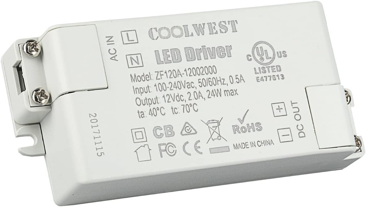 COOLWEST 24W LED Transformador fuente de alimentación del conductor 12V 2A Voltaje constante usar para tiras LED, G4, GU10, MR11, MR16 Bombillas