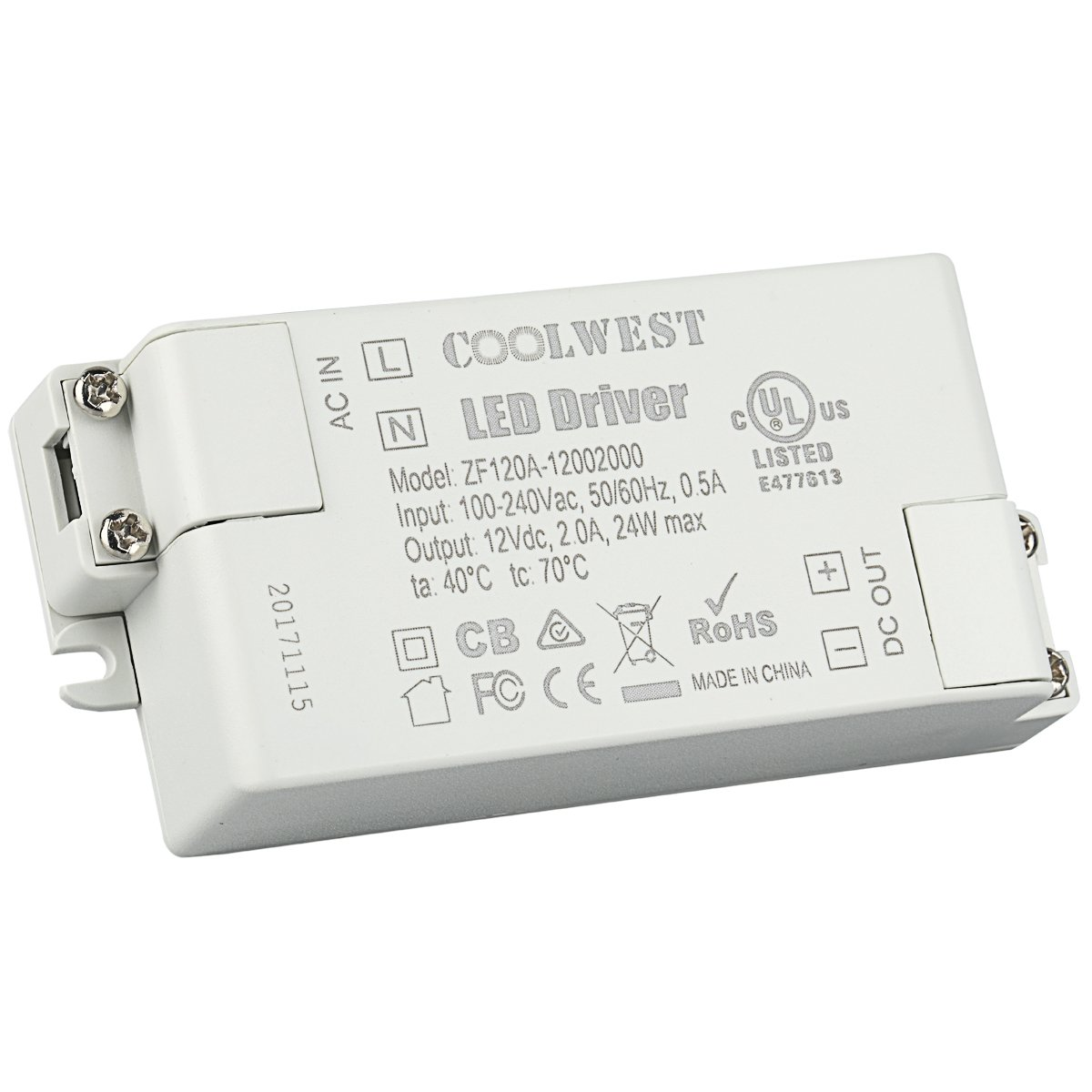 COOLWEST 24W 12V Power Supply Driver Transformer for LED Flexible Strip Light G4 MR16 Bulbs clz0111