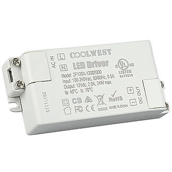 COOLWEST 24W LED Transformador fuente de alimentación del conductor 12V 2A Voltaje constante usar para tiras