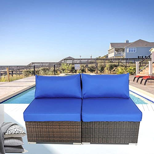 Patio Furniture Sofa Brown Wicker Royal Blue Cushion Rattan Sofa Sectional Outdoor Conversation Couch Set 2pcs Middle Sofa