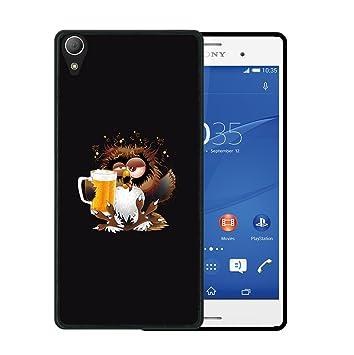 WoowCase Funda para Sony Xperia Z2, [Sony Xperia Z2 ] Silicona Gel Flexible Búho y Cerveza, Carcasa Case TPU Silicona - Negro