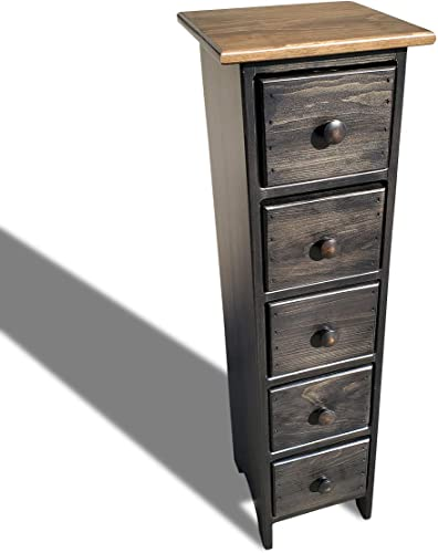 Peaceful Classics Skinny Drawers Cabinet Amish Furniture Mocha Finish | Tall Thin Wood Cabinet