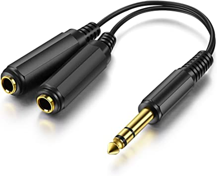 """Dual 6.35 mm 1//4/"""" Femelle Prise Connecteur Audio Support Mural Plaque Panneau"""