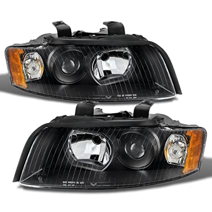 ACANII - For 2002-2005 Audi A4 S4 B6 Quattro Projector Black Replacement  Headlight Headlamps - Passenger + Driver Side