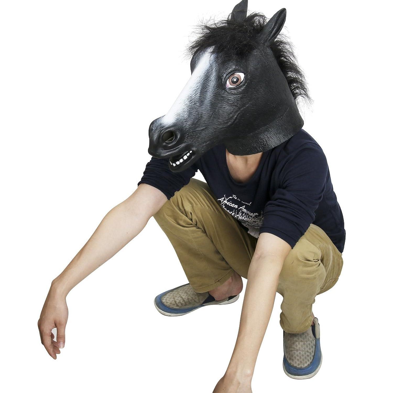 Amazon.com: Novelty Latex Rubber Creepy Black Horse Head Mask ...
