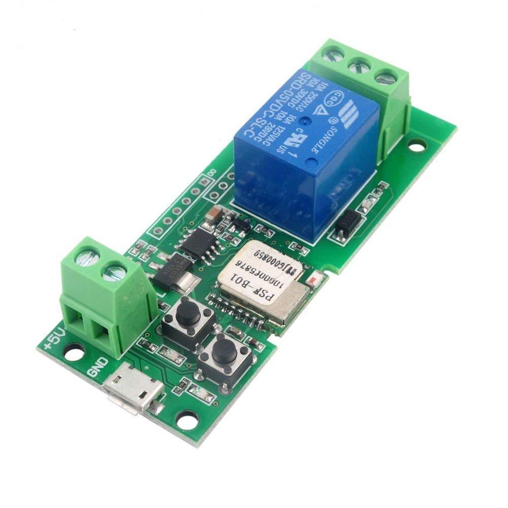 MHCOZY Mise /à Jour du commutateur Intelligent sans Fil WiFi Inching Module de Relais autobloquant Temps de d/émarrage Compris Entre 0,5 Seconde et 1 Heure,Compatible avec Alexa 7-32V with Case