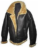 Men's Brown Flying B3 Real Shearling Ginger Sheepskin Leather Bomber Jacket