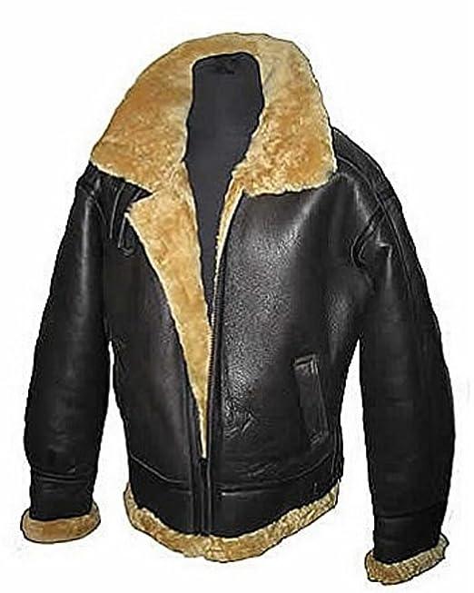 40bc4d6ef Aviator jengibre marrón B3 real de piel de oveja de piel de oveja Bomber  Leather Jacket