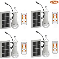 Mengjay Bombilla de luz solar LED 9W Lámpara led portátil Lámpara solar Proyector 6000K Con energía solar USB cargado con control remoto para iluminación de carpa de camping interior al aire libre-4p