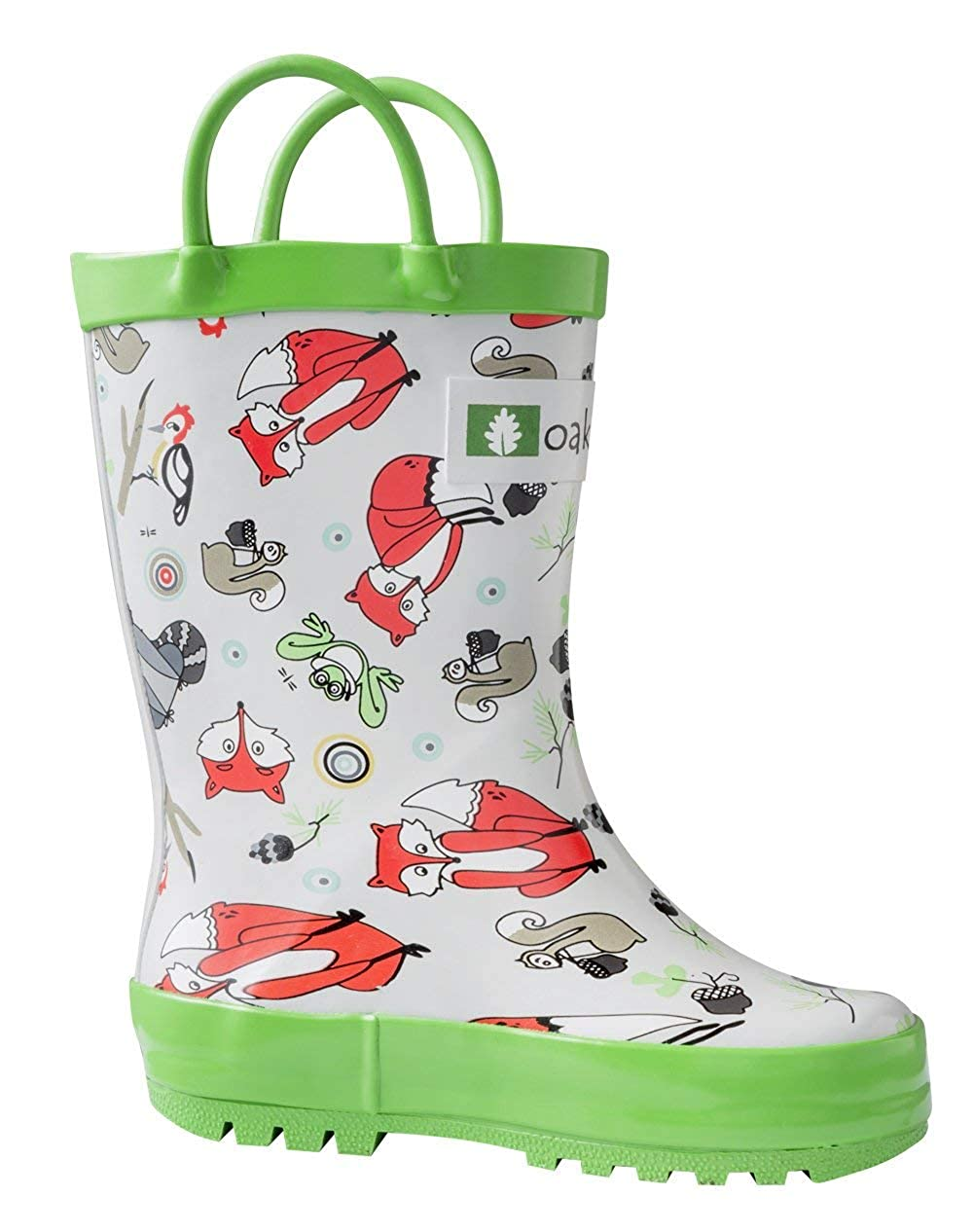 Butterflies 10T US Toddler OAKI Kids Rubber Rain Boots with Easy-On Handles