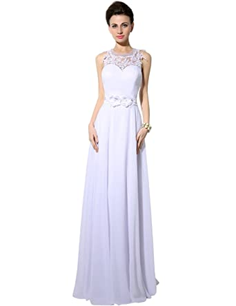Clearbridal Womens O-neck White Long Prom Evening Dresses UK6