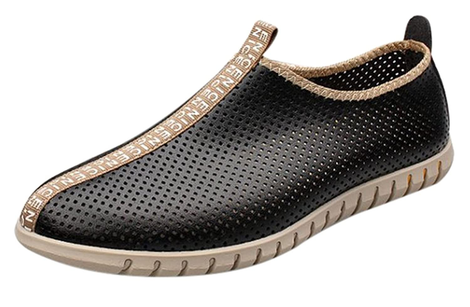 Fansela(TM) Men's Hollow Breathable Perforated PU LeatherBeach Shoes Size 7.5 Black