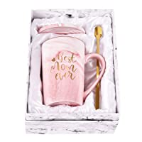 Best Mom Ever Coffee Mug Mom Mother Gifts Novelty Gifts for Mom from Daughter Son Women Mom Gifts for Mom Mother Printing with Gold 14Oz with Exquisite Box Packing Spoon