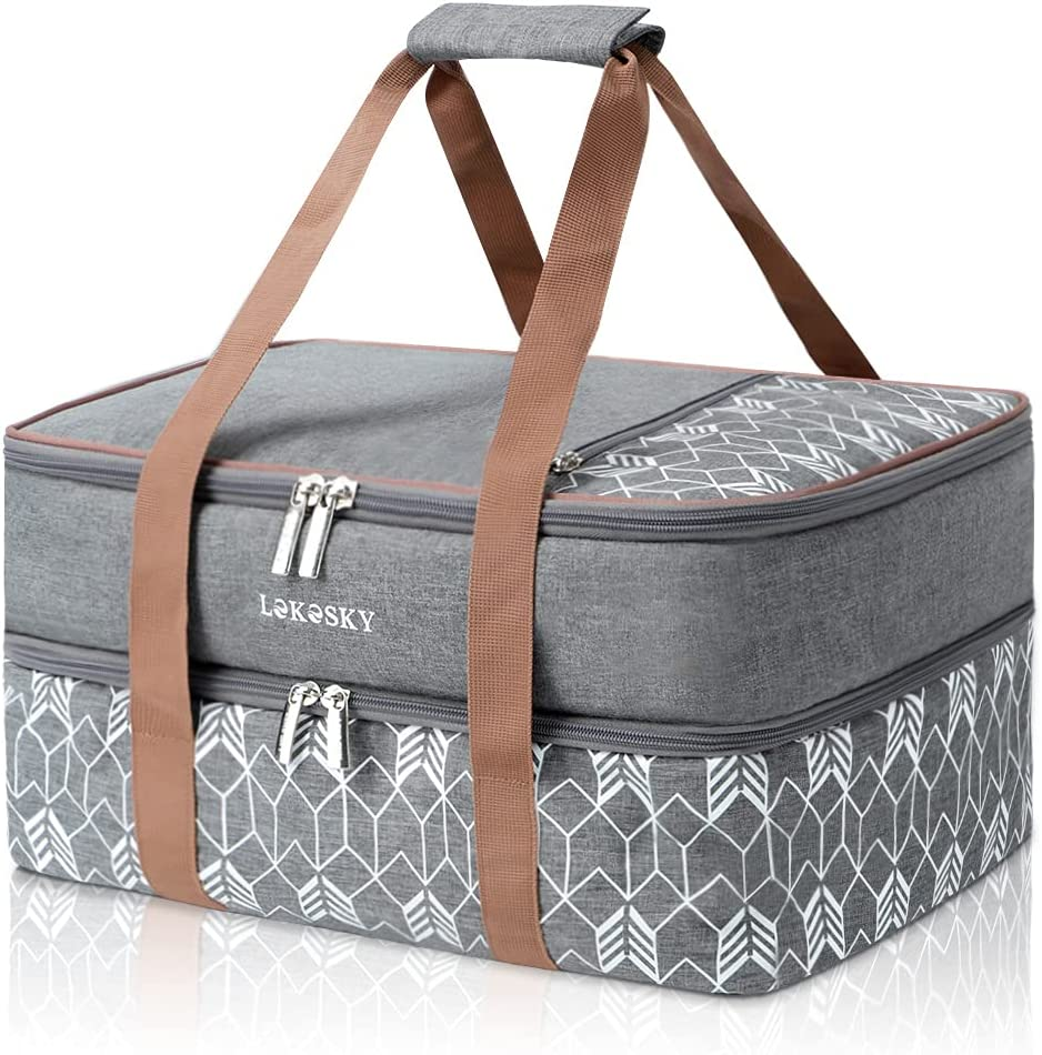 Lekesky Insulated Casserole Carrier for Hot or Cold Food with Heat-resistant Pad Double Decker Lasagna Holder Tote for Lunch/Potluck Parties/Picnic, Fits 9