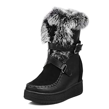 afe742b7c184e Amazon.com: DETAIWIN Womens Mid Calf Snow Boots Metal Buckle Thick ...