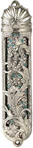 Matashi Hand Painted Enamel Mezuzah Embellished w/Hebrew Shin and Foral Design w/Crystals Home Door Wall Decor Home Décor Jewish Holiday Housewarming Present House Blessing Gift for Holiday Festival