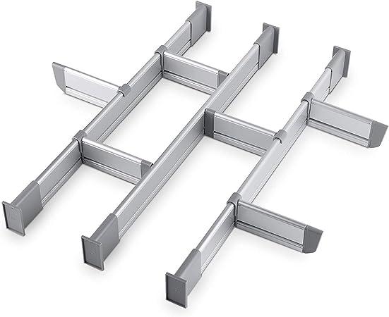 Elegante Organizzatore Modulare in Alluminio Set da 9 Divisori Breve   per Cassetti di Lunghezza 39cm - 44.5cm di Lungo Practical Comfort Divisori Regolabili per Cassetti da Cucina