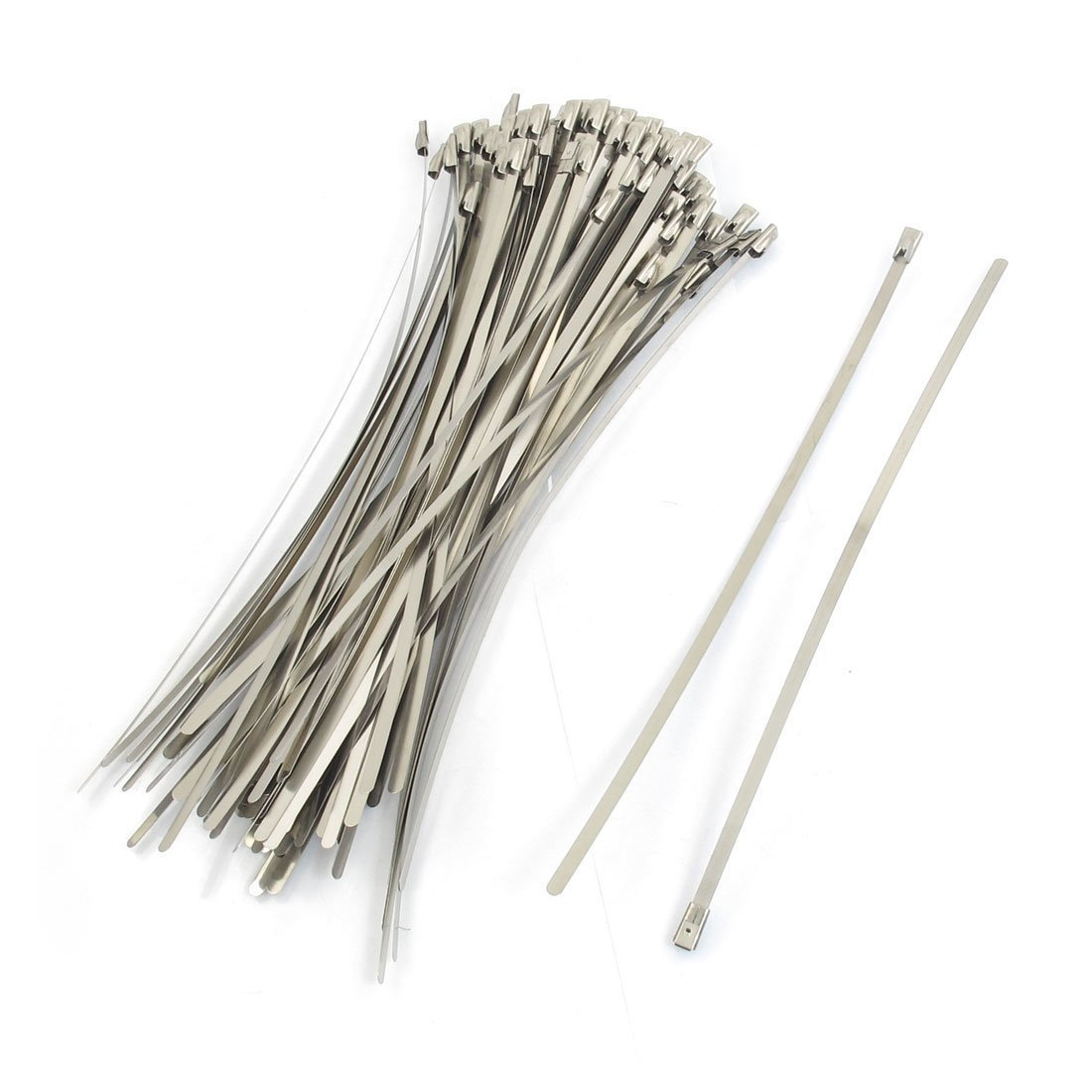uxcell 4.6x250mm Self Locking Stainless Steel Hose Cable Ties Clamps 100 Pcs