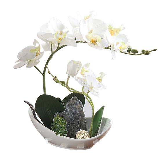 Künstliche Phalaenopsis-Orchidee, Bonsai mit Topf, Dekoration / Ornament weiß