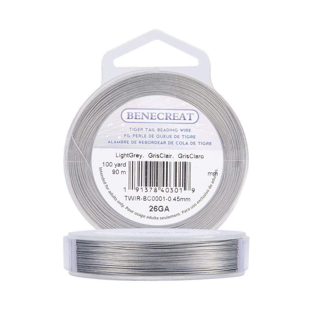 BENECREAT 240-Feet 0.015inch 7-Strand Bead String Wire Nylon Coated Stainless Steel Wire for Necklace Bracelet Beading Craft Work 0.38mm